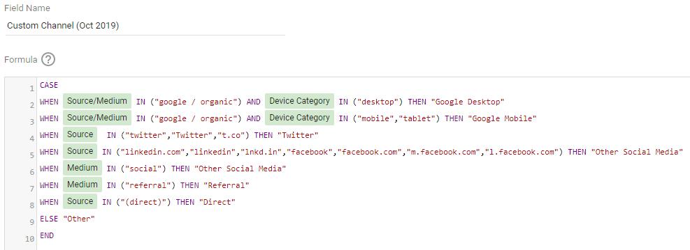 A custom channel grouping in google data studio