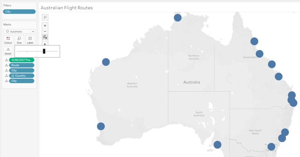 To create our Flight Path Map in Tableau, we need to adjust how the dimensions and measures are displayed.