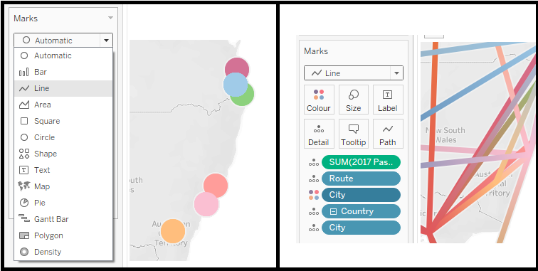 Finally, change the display setting from Automatic to Line, as shown below. in Tableau. How to make a Flight Path Map in Tableau