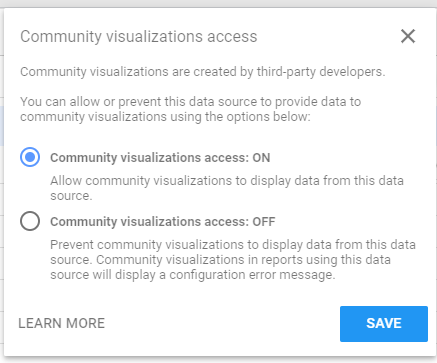 Please not that you will need to go into your Data Source and make sure that Community visualizations access is switched on.