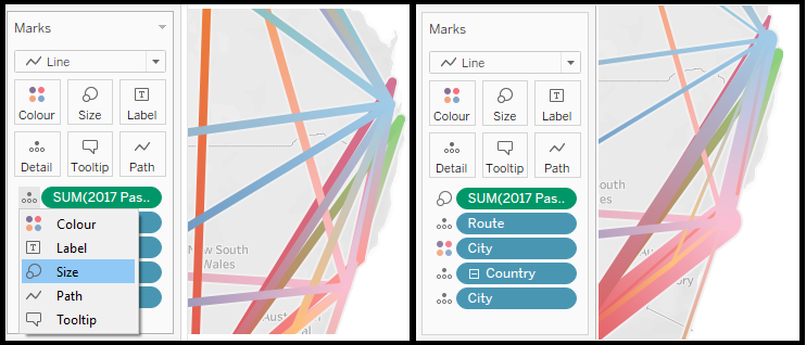How to make a Flight Path Map in Tableau. Changing the settings of the size.