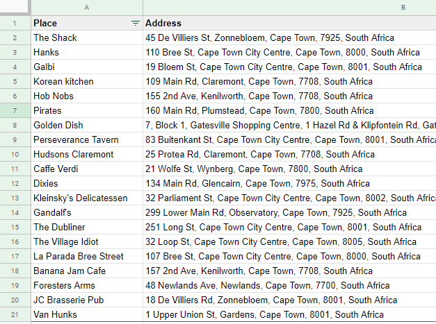 A list of Addresses in Google Sheets for our custom Google Map in Data Studio