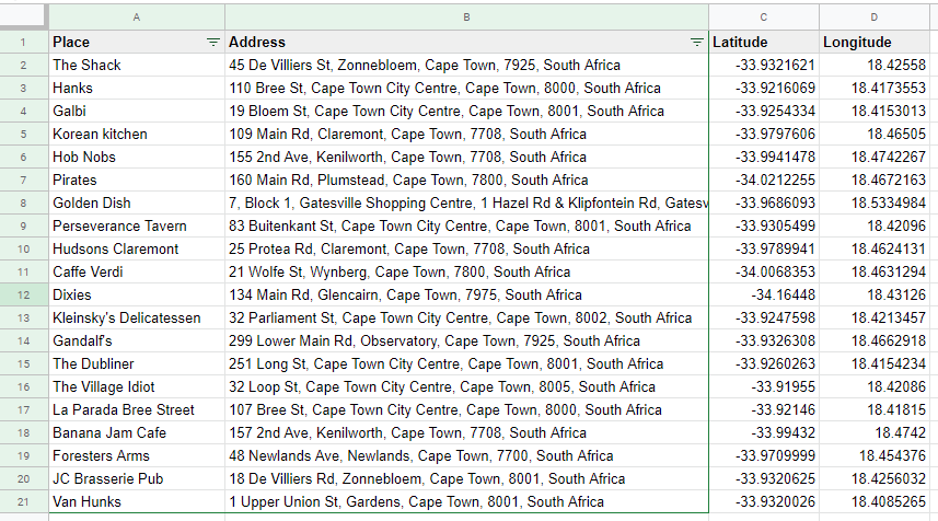 google sheets latitude and longitude in spreadsheet  for our custom Google Map in Data Studio