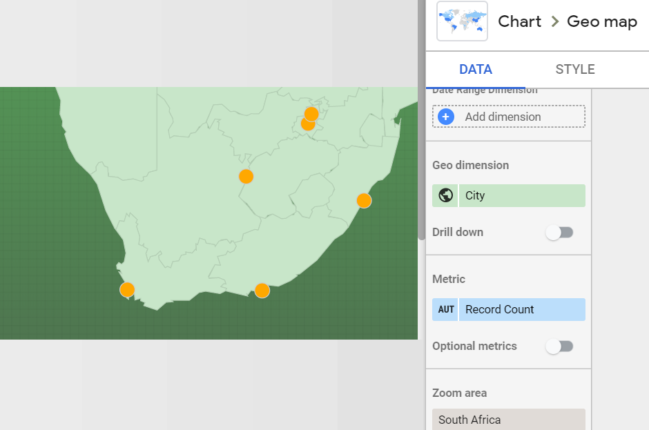Adding a map of South Africa to Google Data Studio geo map