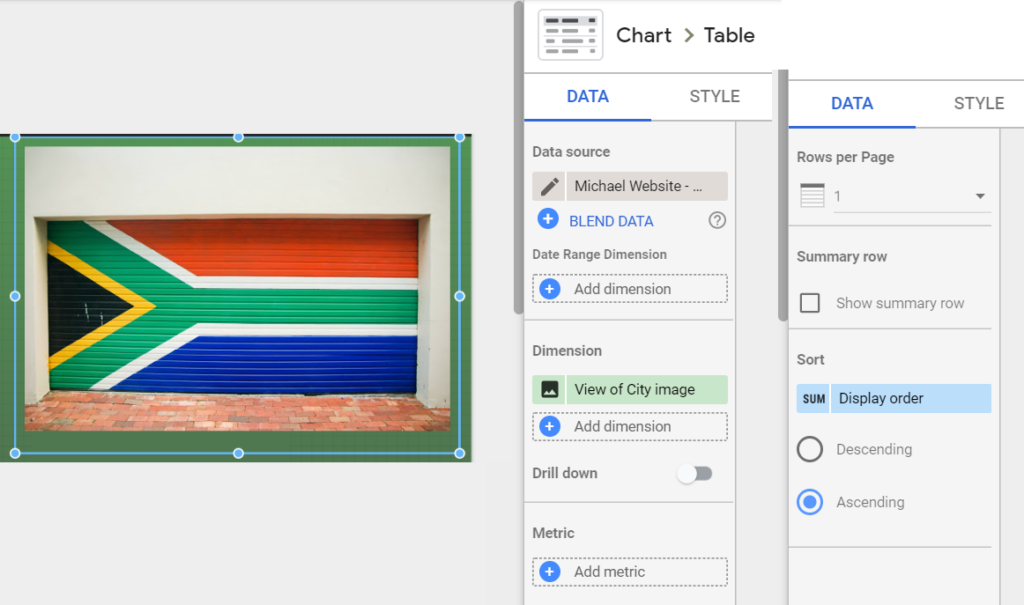 To create this add a Table. Choose the Image field as your dimension. Remove the chart headers, pagination, and row numbers from the table. Remove any metrics