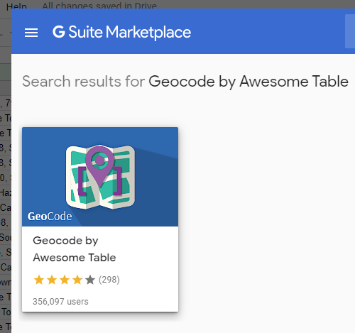 Selecting geocode from the G Suite Marketplace