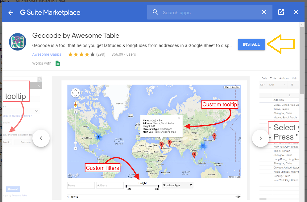 Installing geocode by awesome tables to google sheets