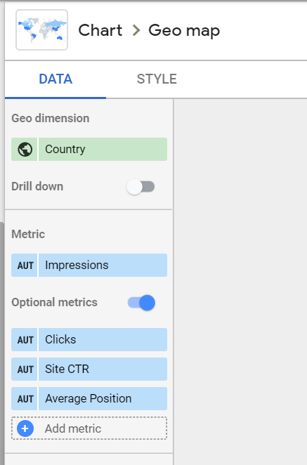 we choose Country as our dimension, Impressions as our metric, and Clicks, Site CTR, and average position as our optional metrics for our Google Search Console Dashboard