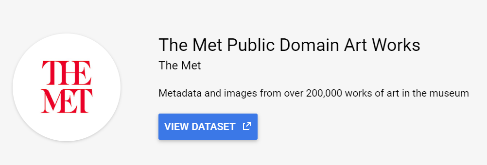 The Met Public Domain Art Works public data set in google big query