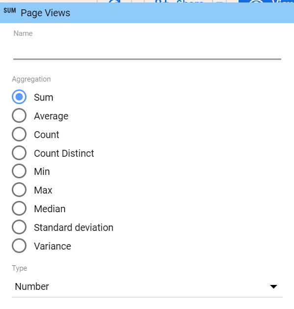page views as a SUM aggregation in google analytics extracted data