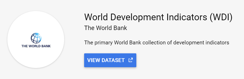 World Bank World Development Indicators WDI public data set in google big query