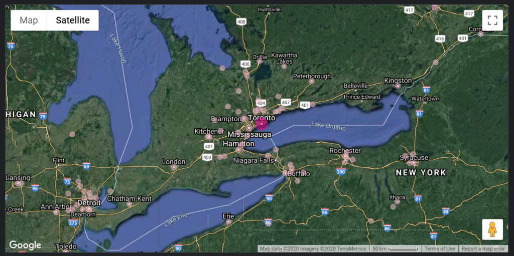 a satellite Google Map in Data Studio. Showing Southern Ontario, Canada.