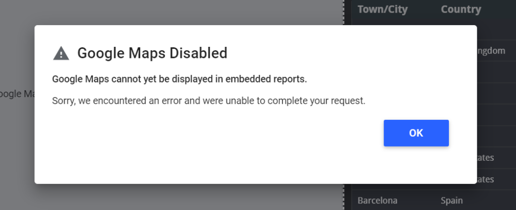 Google Maps cannot yet be displayed in embedded reports.