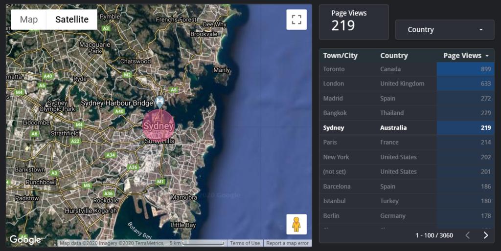 A google map showing Sydney Australia in Google Data Studio