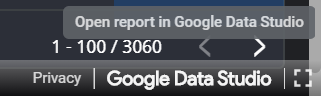 Click the 'Google Data Studio' button in the bottom right corner of the report and open the report in Google Data Studio.