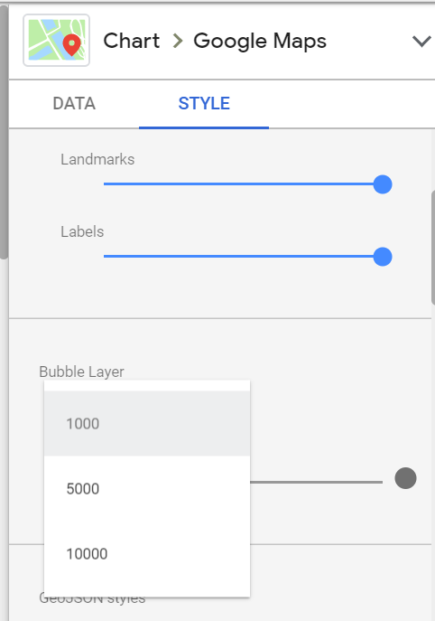 Up to 10000 bubbles using latitude and longitude in google map in google data studio