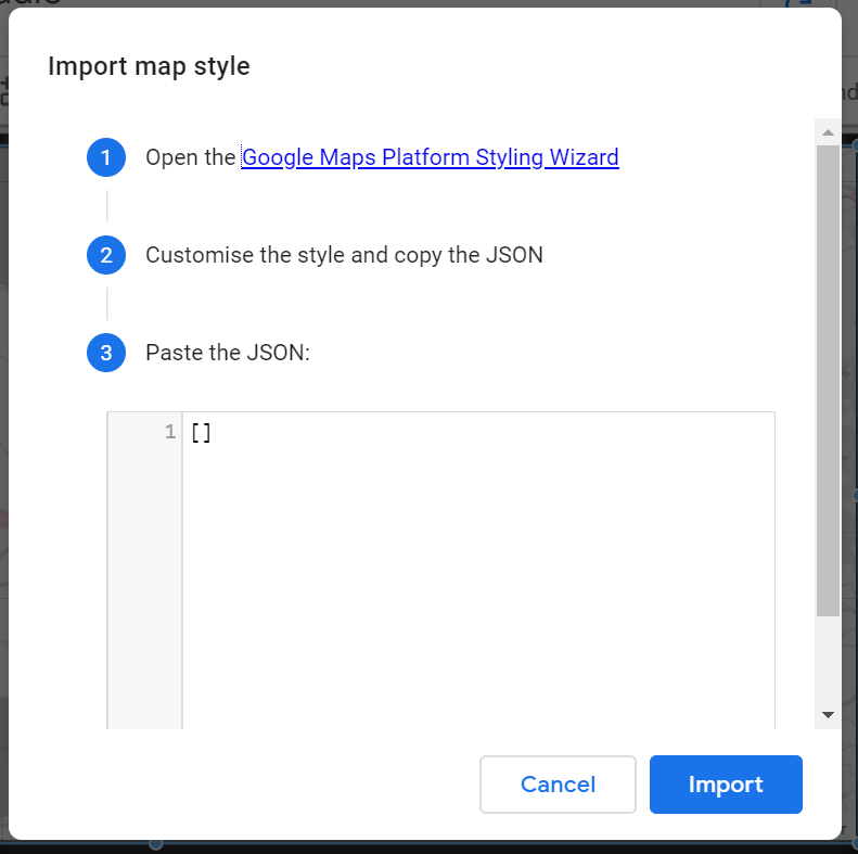 importing a map style using a JSON file type in google data studio