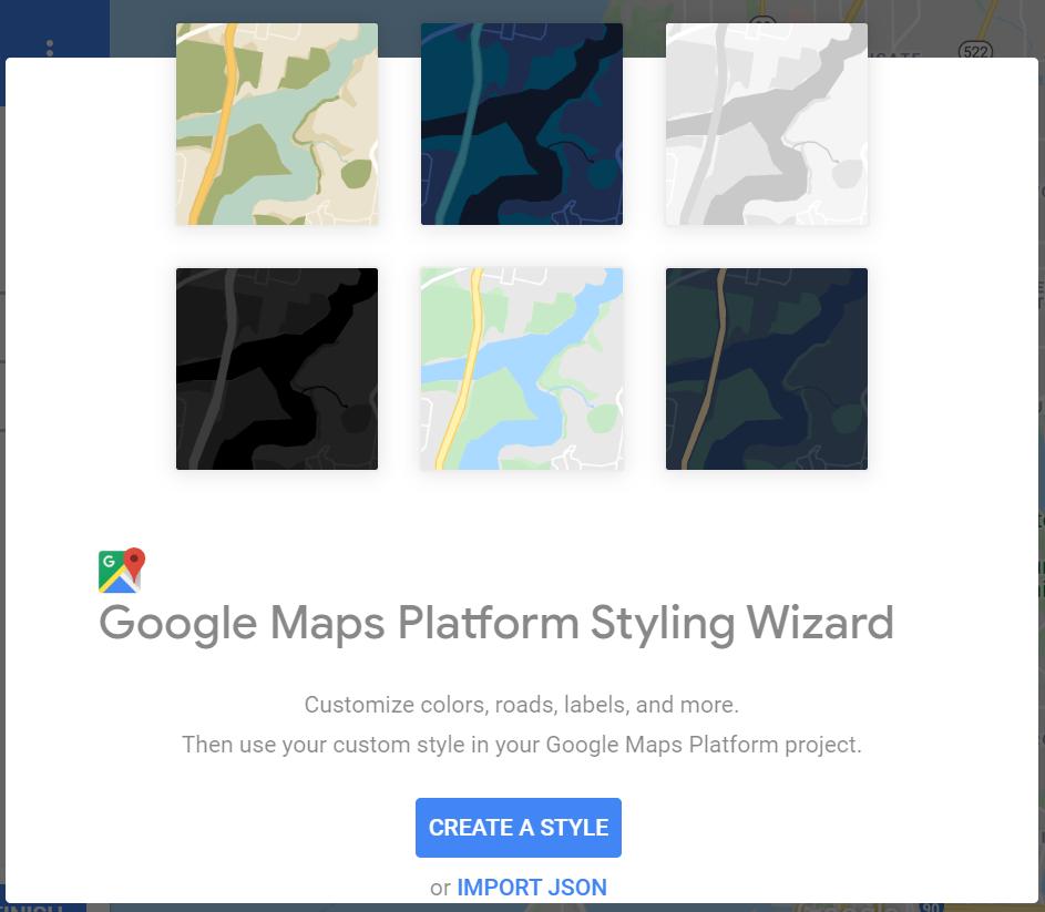 Google Maps Platform Styling wizard