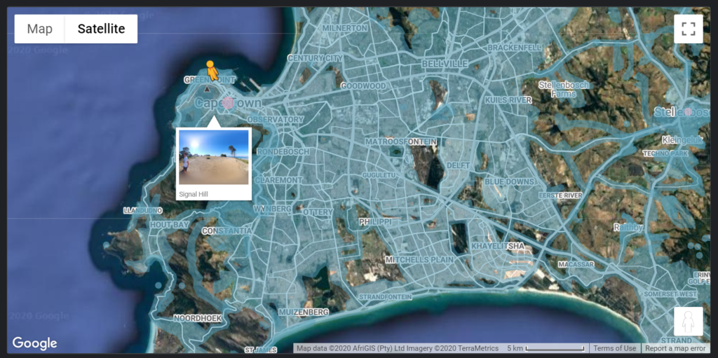 A map of street view locations in Cape Town South Africa in a Google Map in Google Data Studio.