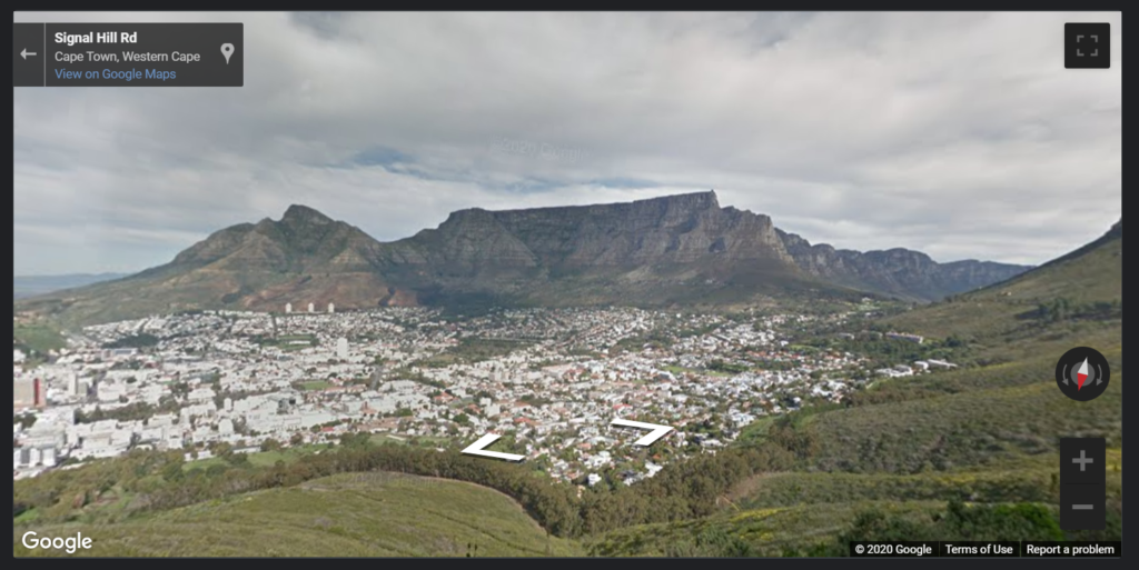 A map of Table Mountain from Signal Hill in Cape Town South Africa in a Google Map in Google Data Studio.