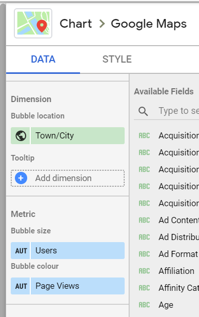 A Chart Type for Google Maps in Google Data Studio.