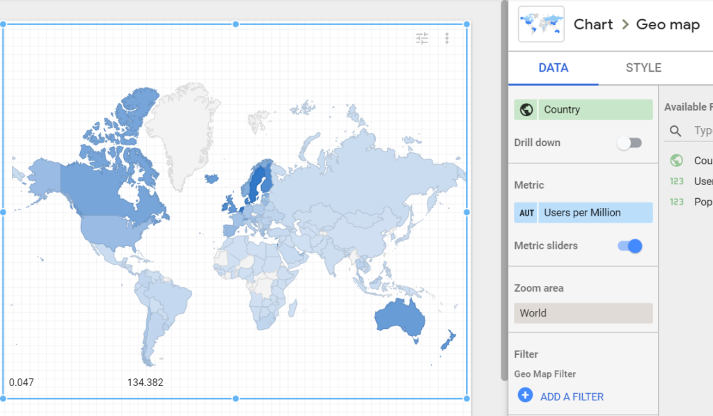 How to setup a map with a metric slider in google data studio