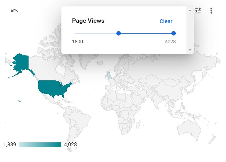A geo map displaying Metric Sliders in Google Data Studio