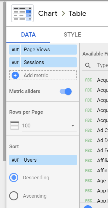 if we want to use Metric Sliders we cannot use optional metrics or a summary row