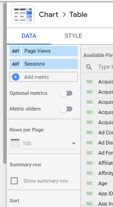 For example in a regular table we can use Optional Metrics and add a Summary Row.