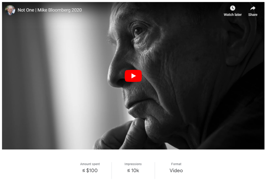 A screenshot of a Mike Bloomberg video advert from the political advertising bigquery data set