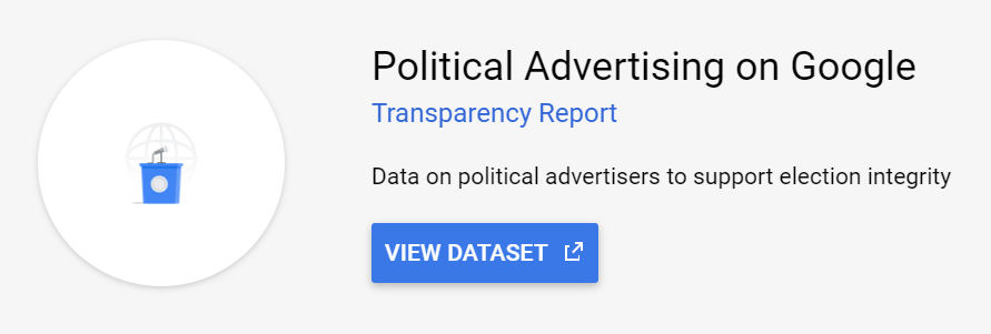 This Political Advertising data is available on Google BigQuery in the Public Datasets.