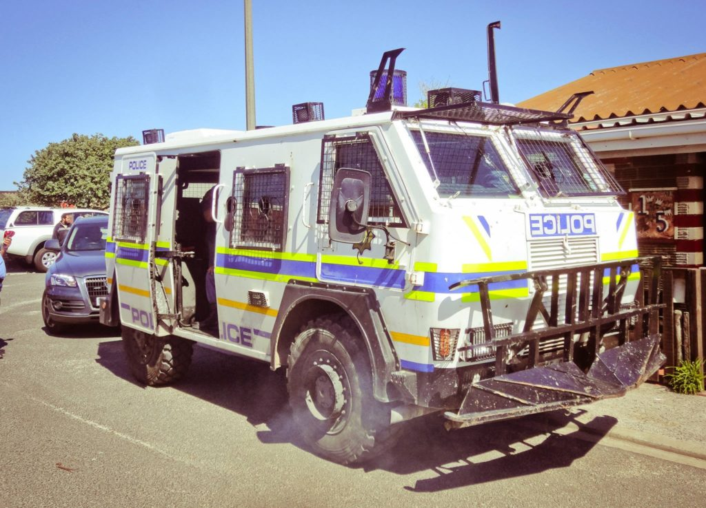 crime in south africa. An SAPS Police vehicle in Cape Town, South Africa
