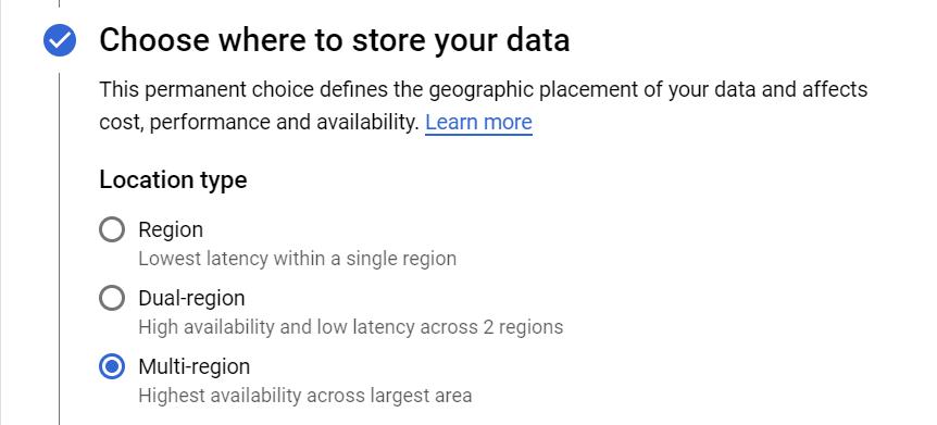 choosing bucket location in cloud storage