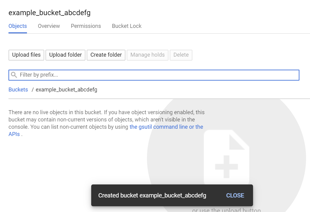 the screen shown after successfully creating a bucket in google cloud storage