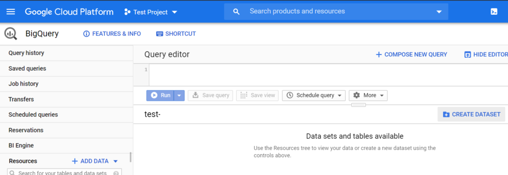 Open up Google BigQuery and click 'Create Dataset'.
