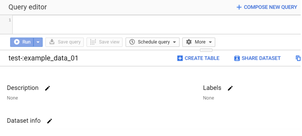 creating a table in google bigquery