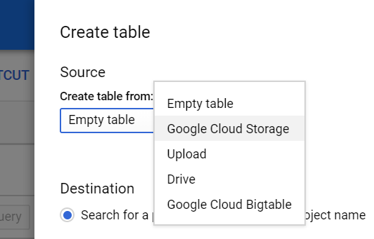 Create a new Table within this Dataset