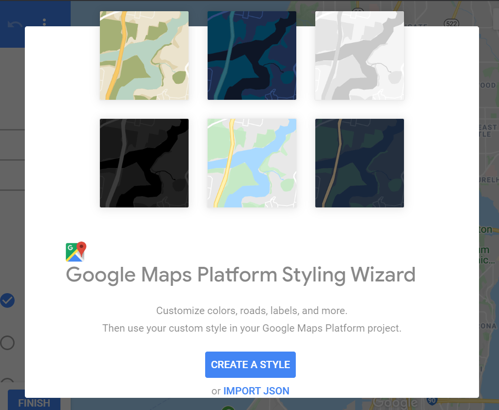 the google maps platform styling wizard for creating a Custom Google Map Style