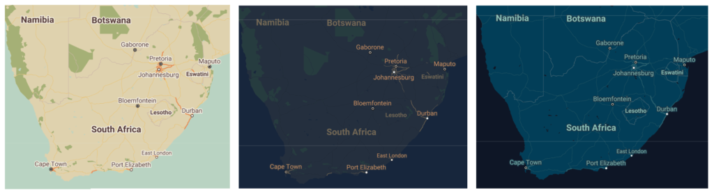 Retro, Night and Aubergine map styles for google maps. these styles can be used as the basis for a Custom Google Map Style