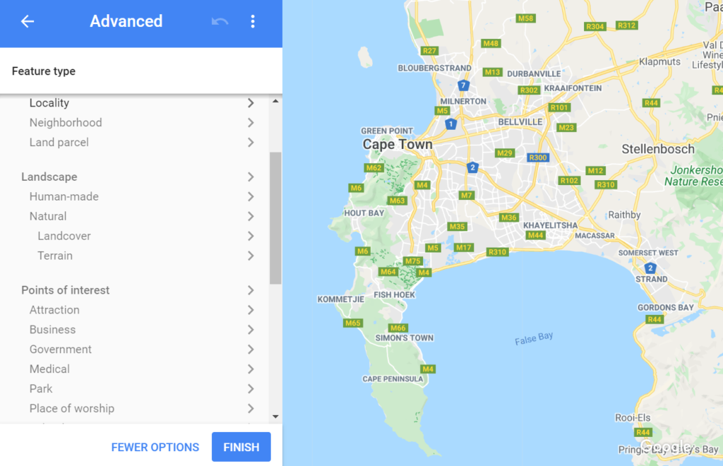 a map of cape town south africa showing the standard google map style