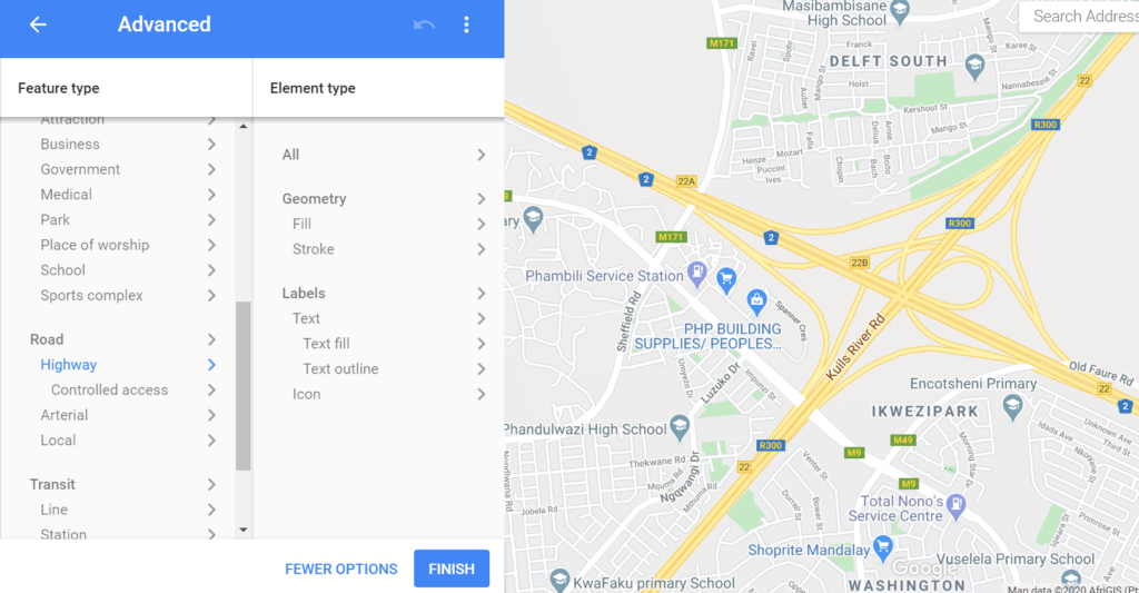 adjusting the settings for displaying highways in google maps platform styling