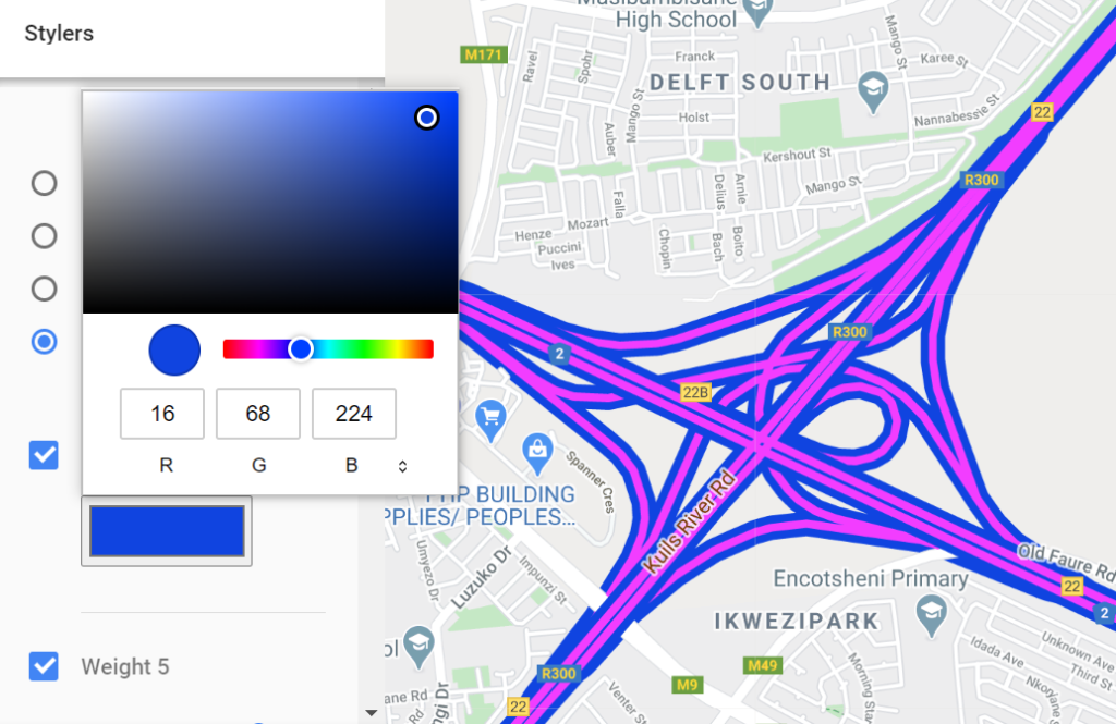 adjusting the fill and stroke of highways in google maps