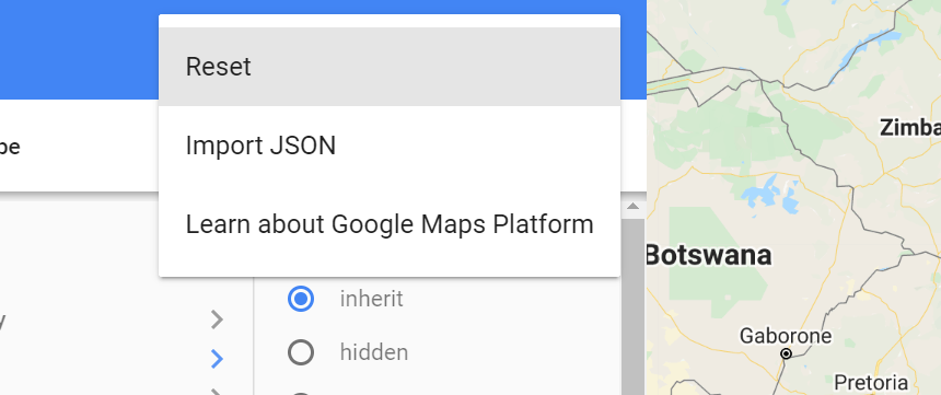 how to reset the map style in the google platform wizard
