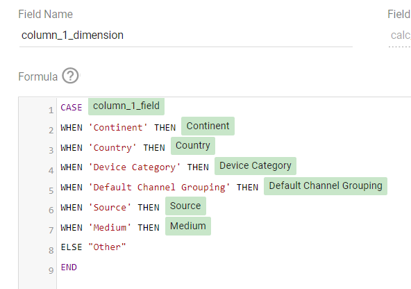 A CASE statement Parameters to change Column Dimensions in Google Data Studio