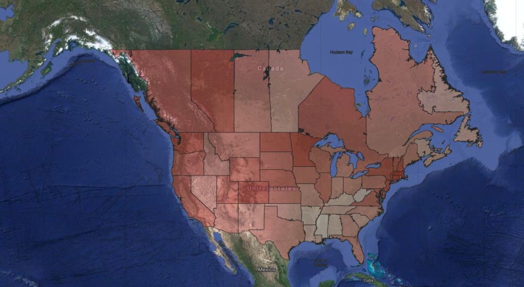 a map showing the Human Development Index scores of US states and Canadian Provinces.