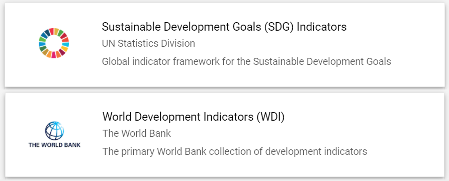 UN's Sustainable Development Goals (SDG) Indicators and the World Bank's World Development Indicators.