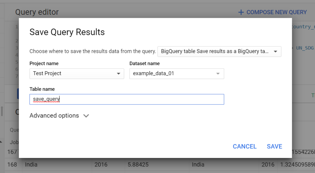 save bigquery results page