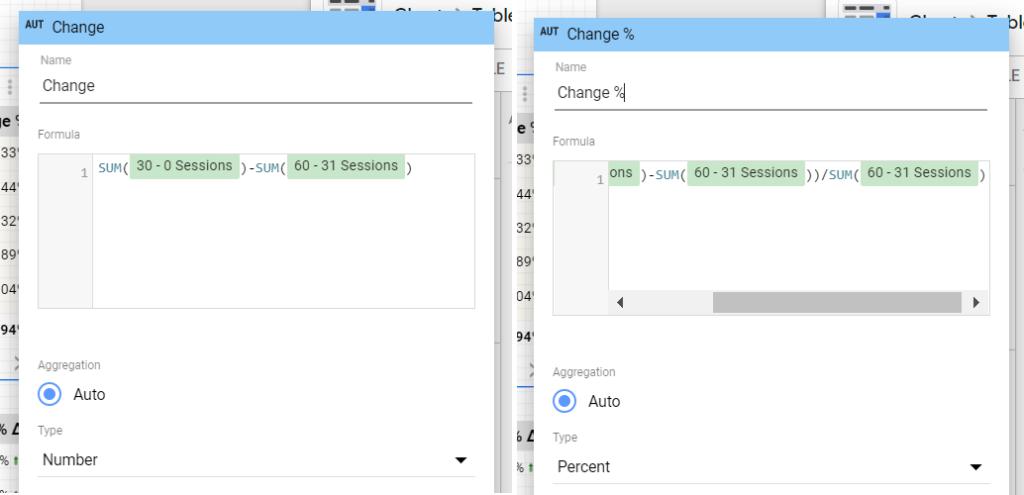 Change = SUM(30 - 0 Sessions)-SUM(60 - 31 Sessions) Change % = (SUM(30 - 0 Sessions)-SUM(60 - 31 Sessions))/Sum(60 - 31 Sessions)
